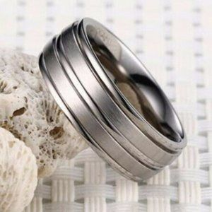 Tungsten Carbide Silver Steel Band Ring Size 6